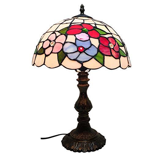 Red Art-glas-tisch-lampe (ZXCV Europäischer blumenförmiger Lampenschirm Tiffany-Art-Buntglastischlampe führte Nachtlichtschreibtischlampe für Schlafzimmerwohnzimmer-Nachttischlampe E27)