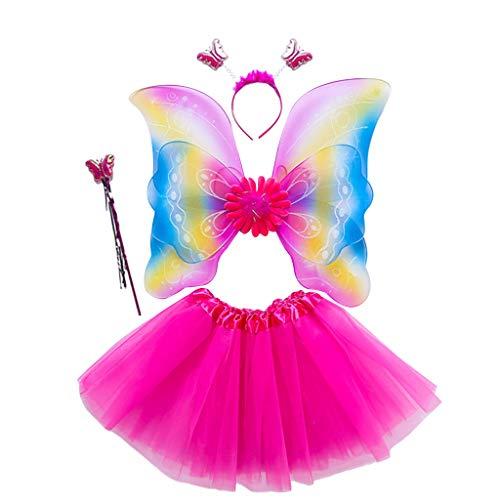 Fee Prinzessin Kostüm Schmetterling - only y Kostüm Fee Schmetterling Doppelschicht aus Tüll Mädchen Damen - Flügel Kostüm Prinzessin Kleid Schmetterling Cosplay für Karneval Kostüm Zubehör 6