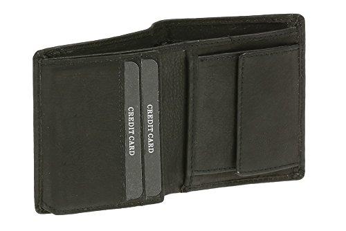 Damen und Herren klassische Minikombigeldbörse extra dünn mit Klappe im Hochformat LEAS in Echt-Leder, schwarz (Geldbörse Leder Leder Aus Klassische)