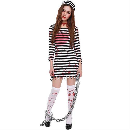 ZmnXnm Halloween-Horror-Zombies, Blutige Weibliche Häftling Kostüme, Cosplay Geist Festival Gefangener Kostüme, Party-kostüme XL Streifen (Gefangener Kostüm Geist)
