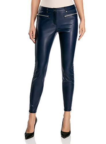 oodji Ultra Donna Pantaloni Slim Fit in Ecopelle con Zip Blu (7900N)
