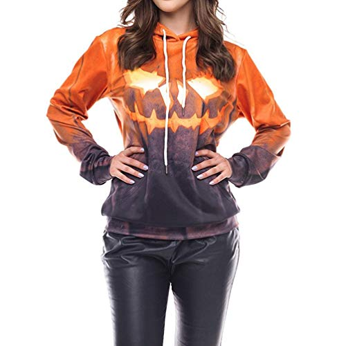 VEMOW Herbst Frühling Damen Scary Halloween Blutverband 3D Print Party Casual Cosplay Top Caps Sweatshirt Pulli(Gelb, EU-48/CN-2XL)