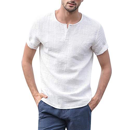 Tyoby Sommer Herren Baumwolle Hanf Kurzärmliges Hemd Slim Fit Knopf V-Ausschnitt Tops Mode Herrenbekleidung(Weiß,XXL)