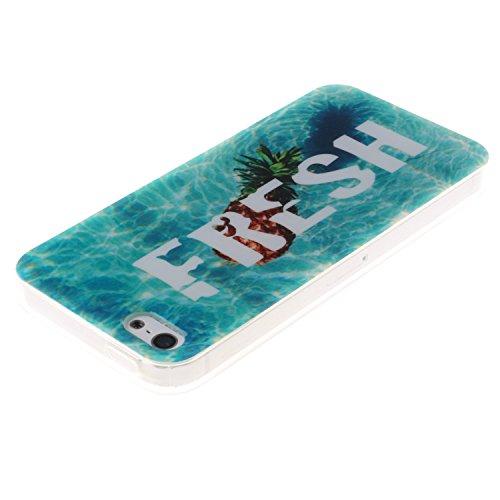 iPhone SE Coque, MOONCASE iPhone 5S Cover Case Fit Soft Silicone Housse avec Coque de Protection en TPU Etui pour iPhone SE / 5S / 5 - DD10 Série Colore - DD13
