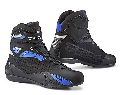 TCX Stivali Moto Rush Nero/Blu, Nero/Blu, 45