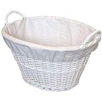 WoodLuv Wicker Willow Linen/Laundry Basket, White