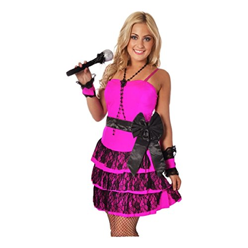 Madonna Material Girl Costume with pink layered dress with lace, black waist bow. S, L, 3XL