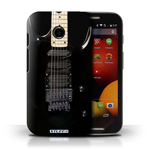 Kobalt® Imprimé Etui / Coque pour Motorola Moto E (2014) / Sunburst Electrique conception / Série Guitare Noir Electrique