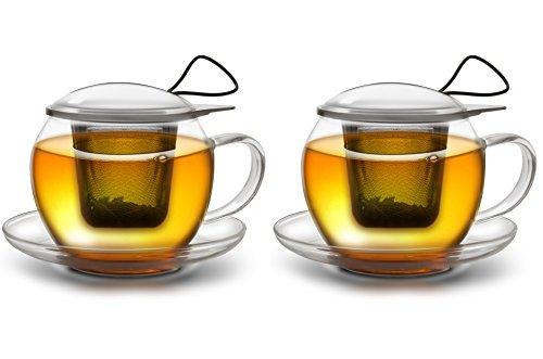 Creano Tee-Tasse aus Glas mit Henkel und integriertem Edelstahlsieb, Glas-Deckel und Untertasse im 2er-Set- ideal zur Zubereitung von losen Tees,  in 450ml XXL Größe - Tee-filter-tasse