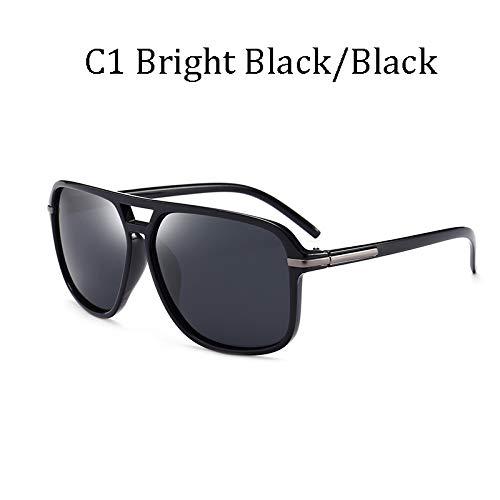 LIUYIAO Die kühle quadratische Art der Art- und Weisemänner polarisierte die Sonnenbrille, die Retro Markendesign-preiswerte Sonnenbrille fährt,C1