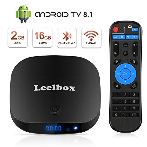 Leelbox TV Box Q2 PRO Android tv 8.1 Vier Kern 2GB RAM+16GB ROM/2.4G WLAN/Volles HD/3D/4K H.265 Android TV Version