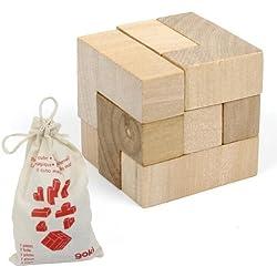 Juego de ingenio Goki ROMPECABEZAS CUBO de madera para ejercitar la inteligencia Niños + 8 años