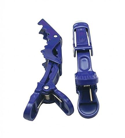 Amanteao Plastique Croc antidérapant Clips avec dents Couleur Bleu profond 11,4cm Grande taille Lot de 10