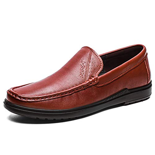 Jingkeke Echtes Leder Casual Oxfords Schuhe für Männer Slip-on Einfache Einfarbig Laufsohle Runde Kappe Antislip Wanderschuhe Dauerhaft (Color : Braun, Größe : 44 EU) (Männer Winter Mützen-designer)