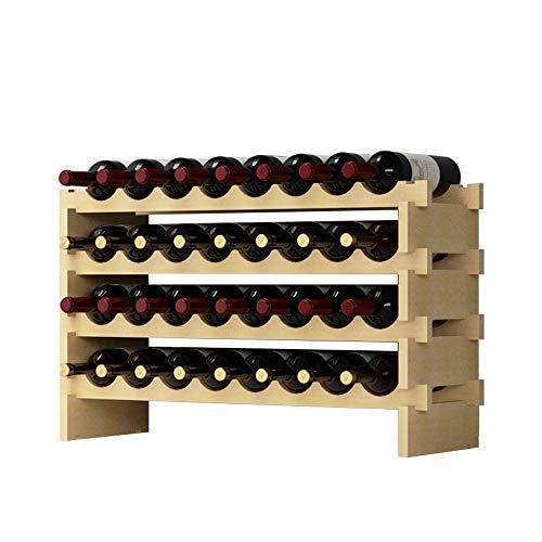 DlandHome 4 Ebenen für 32 Flaschen Weinständer Wein Weinregal Flaschenregal Holz für Bar, Küche, 90x30x54cm -