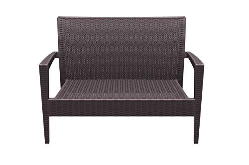 CLP 2er Rattan Garten Lounge-Sofa MIAMI V2, Vollkunststoff in Rattan-Optik, ca. 130 x 80 cm, mit Sitzkissen, stapelbare Sitzbank Braun - 2