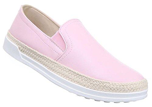Damen Halbschuhe Lace up Schuhe Slipper Schwarz Beige Rosa Silber Weiss 36 37 38 39 40 41 Rosa vnPhYz2