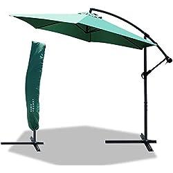 Parasol déporté hexagonale 3M avec Manivelle Anti-Retour | Parasol déporté inclinable | Toile 180 GR/m2 avec Protection UV | Hauteur 2m50 - 6 Baleines en Acier | Inclus Housse de Protection Vert