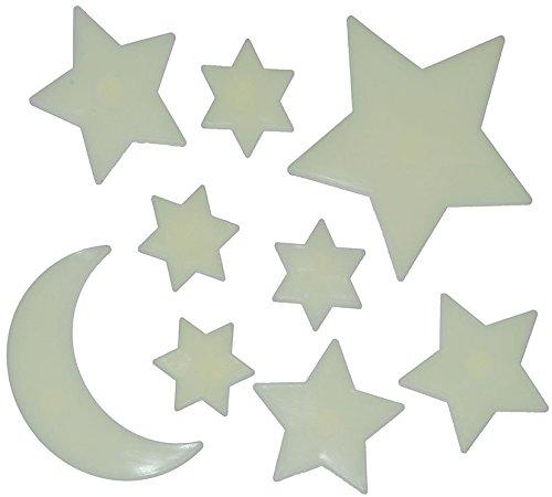 9 tlg. Set: 3-D Glow in the Dark ! Leucht Figuren Sterne Sonne Mond - zum Hinhängen / Wandtattoo / Fensterbild / Sticker - leuchtet im Dunklen Glowing - wasserfest Traumsterne