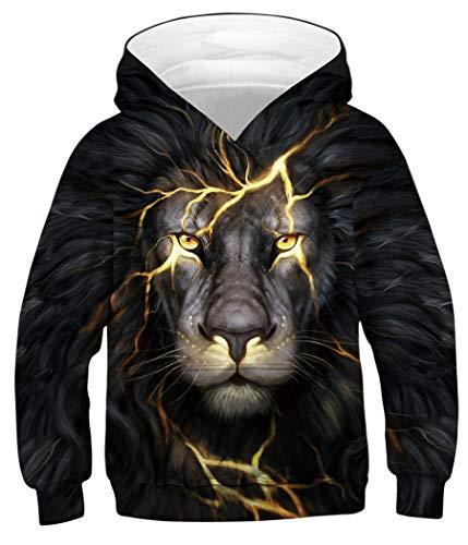 Sixyotie Boys 3D Galaxy Muster Hoodie Animal Printed Langarm Pullover Sweatshirt mit Tasche (Flash Lion, Höhe: 105-115 ()
