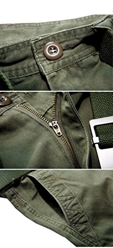 435cabe861b597 ... CUKKE Uomo Pantaloncini corti Bermuda Cargo short con tasconi laterali  con cintura militare-verde ...