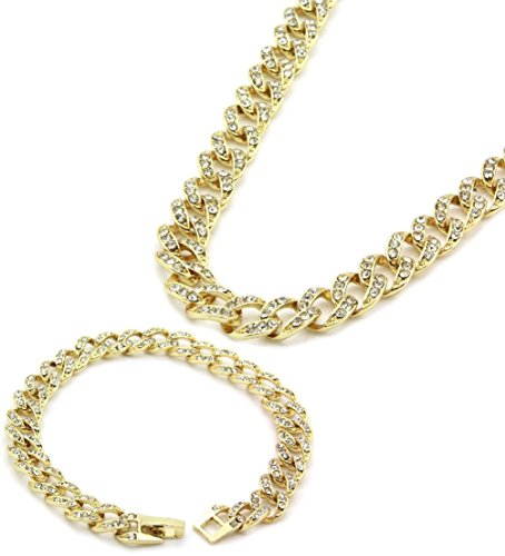 12JKINC tdmall 16K UV-Vergoldet Iced Out Hip Hop 9mm Kette & Armband Miami Kubanischen Halskette