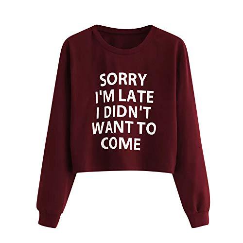 TWBB Damen Mantel,Herbst Winter Brief drucken Slim-Fit Kurz Pullover Sweatshirt Outwear