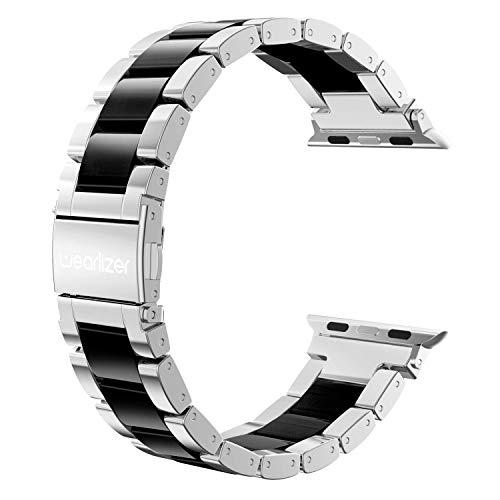 Wearlizer für Apple Watch Armband 42mm 44mm, Edelstahl Metall Harz iWatch Straps Ersatzband Uhrenarmband Wristband für iWatch Serie 5 Serie 4 Serie 3 2 1, Silber + Schwarz