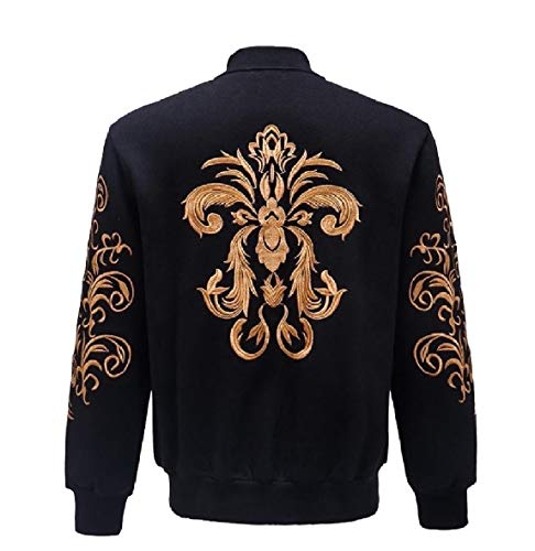 CuteRose Men's Back Cotton Embroidered with Zips Coat Varsity Jackets Black 2XL -