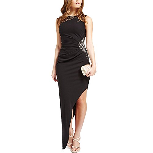 CoCo Fashion Damen Maxikleid Abendkleid Paillettenkleid Lace Bodycon Partykleid Cocktail Pencil Kleider mit Falten Ärmellos, Größe EU 34-36(Herstellergröße M), Farbe Schwarz