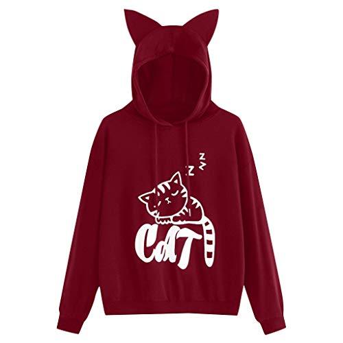 Hund Long Sleeve Tee (WQIANGHZI Damen Frauen Niedliche Katze Kapuzenpullover Tasche Hoodie Langarm Pullover Sweatshirt Carrier für Kleine Katze Hunde)