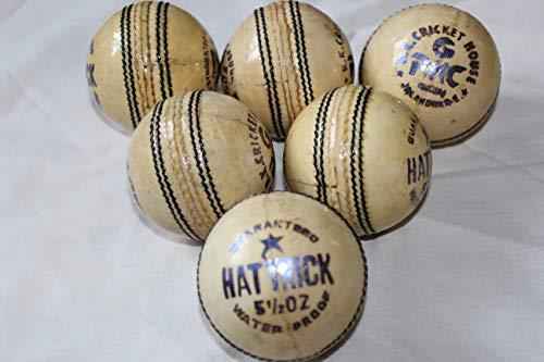 C.R.K Cricket-Bälle aus Leder, Weiß, 6 Stück
