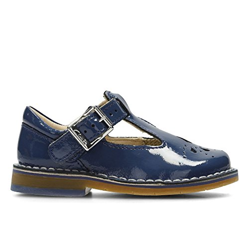 Clarks Yarn Weave First Leather Shoes In Blue Patent Wide Fit Size...