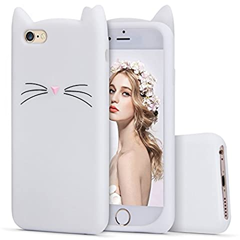 iPhone 6s Silicone Case,Imikoko™ Slim-Fit Anti-Scratch Shockproof Soft Silicone Case With Cute Cat Pattern for iPhone 6/6s (4.7 inch) (White)