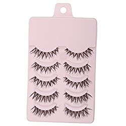 Magideal 5 Pairs Beauty Makeup Handmade Messy Cross Style False Eyelashes Pink