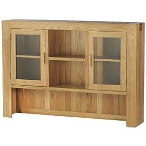 Grand clapier à 2 portes et 2 étagères avec porte-verre en placage de chêne finition