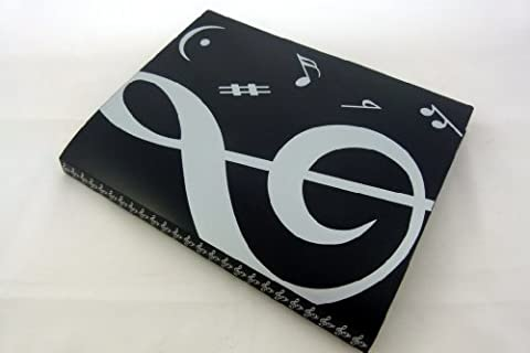 Music Themed 20 Pockets Plastic Folder Display Book Soft Cover - Black Cover White Treble Clef Design
