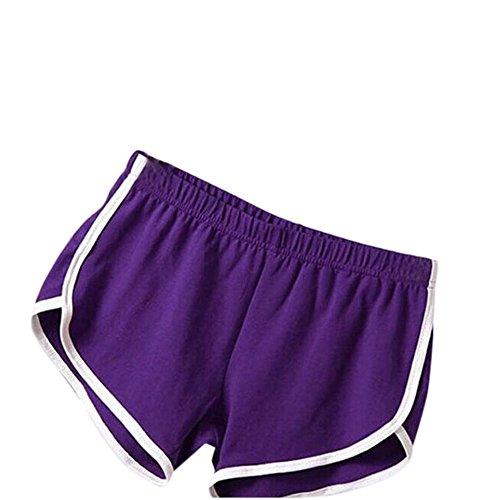 ★★2017 Femmes Pantalon Court de Sport de Femme vêtement pour Fitness Gym Short Course Yoga★★ Violet