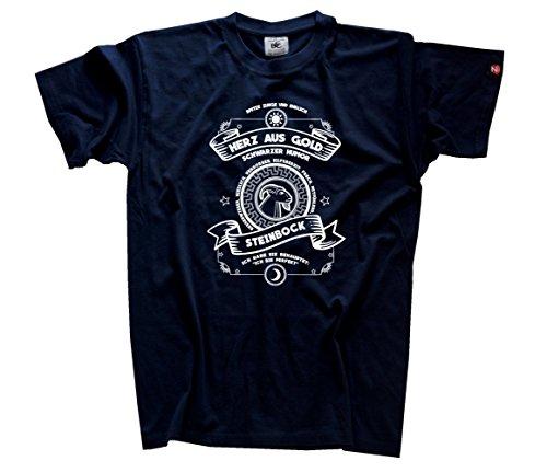 Herz aus Gold Sternzeichen Steinbock T-Shirt Navy XL