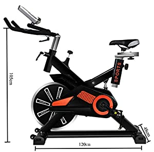 Lcyy-Bike Indoor Cycling Commercial Bicycle Trainers Infinite Resistance 15 Kg Flywheel Mit Herzfrequenz-Sensor-Frühschoppen Absorption Adjustable Lenker & Sitzhöhe Für Men/Women Orange