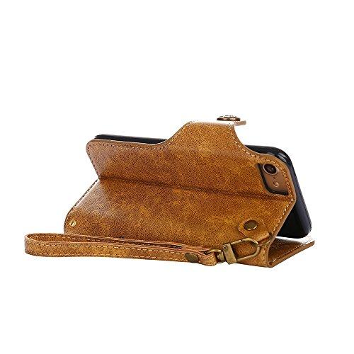 YHUISEN iPhone 7/8 Fall, Luxus Retro Rose Premium PU Leder Magnetische Verschluss Flip Wallet Schutzhülle mit Lanyard für iPhone 7 / iPhone 8 ( Color : Orange ) Khaki