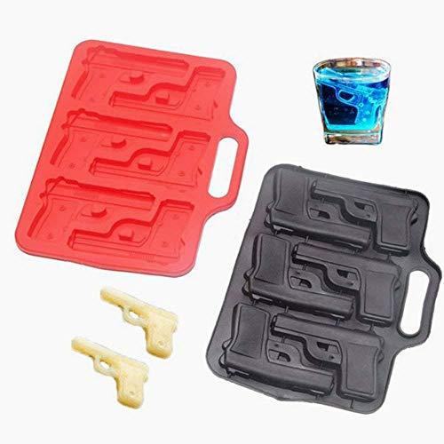 (Beito Neuheit-EIS-Hersteller-Form-Gewehr-Pistole-EIS-Würfel Schokoladen-Seifen-Behälter-Form-Silikon-Party-Hersteller 1 Stück zufällige Farbe)