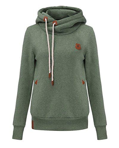 YuanYan Femme Tops Sweats à Capuche Pull Hoodie Hauts Veste Sweatshirt Pullover Vert