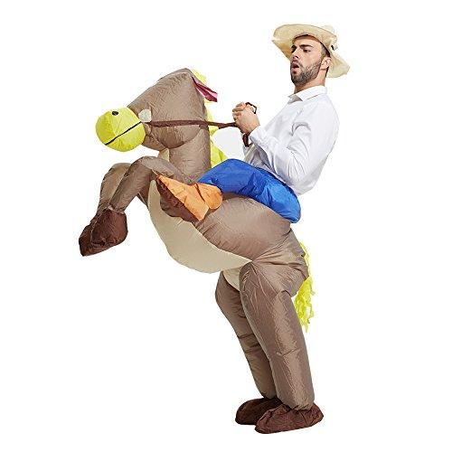 HEYMA Erwachsene Dinosaurier aufblasbare Kostüme Halloween-Abendkleid Outfit Anzug (Horse)