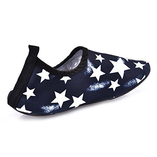 Kinder Atmungsaktiv Aqua Schuhe Bequeme rutschfeste und schnelle trockene AquaSchuhe Strand Schuhe Pool Schuhe Sport Schuhe mit schönen Sterne Muster für Unisex Kinder Schwarz