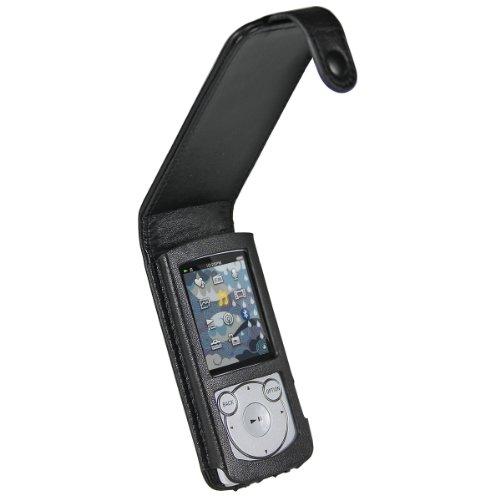 igadgitz U1239 Echte Leder Tasche Case Hülle für Sony Walkman NWZ-S765 NWZ-S764 Series - Schwarz