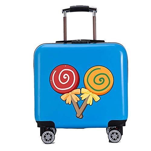 YUNY Koffe,rKinderkoffer, Kinderkoffer, Kinderkoffer, 18-Zoll-Cartoon-Muster, mehrere Farben-blueA