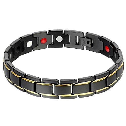 Oidea Herren Magnet Armband, 12mm Breite Edelstahl Gesundheit Magnetarmband Armkette Armreif Armschmuck Handgelenk, schwarz gold