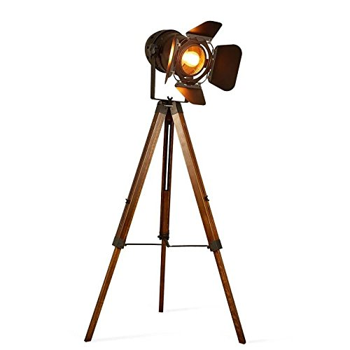 Focolux - Spotlight Trípode - Lámpara de pie de madera - Náutica Antique Searchlight Decor Cinema Studio de pie Vintage Home Lámpara de pie sin bombilla
