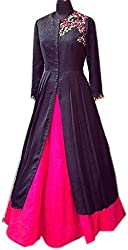 Western Gown ( Pink-Black_GM56-Free Size_Embroidered )